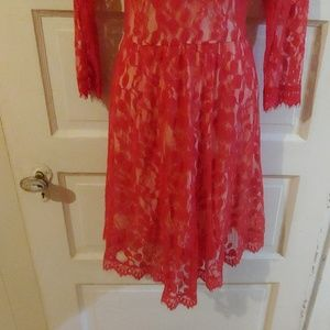 Free People Dresses - Free People Red Floral Mesh Lace Dress 10